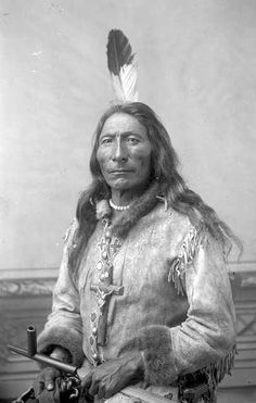 Blackfoot Chief Long Feather, Native american, feather, culture, wild, proud, fashion, out-fit, portrait, vintage, photograph, photo b/w.