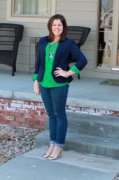 I have a navy blazer & a navy open front drape cardigan.. just need some green in my life! Kelly green, emerald green, deep jewel toned green. The length of her blouse is about right.