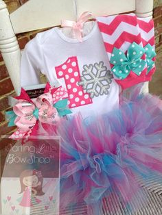 aeafc26fc Baby Girl First Birthday Outfit - Winter ONEderland - bodysuit, leg  warmers, tutu, Over The Top bow in pink, aqua and silver Snowflake