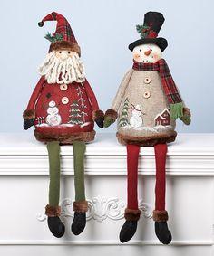 Look what I found on #zulily! Country Santa & Snowman Shelf Sitter Figurine Set #zulilyfinds