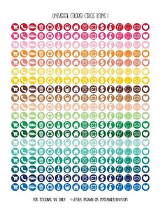 Universal Colored Icon Circles - Free Planner Printable