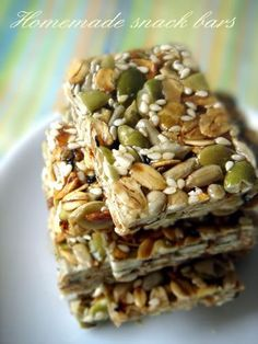Homemade snack bars, Food For Tots- no bake and are made with just a few ingredients! Yum yum yum!