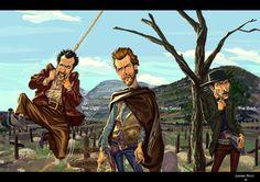 Awesome illustrations by Sao Paulo, Brazil based artist Juarez Ricci. Lee Van Cleef, Westerns, Hank Marvin, Sergio Leone, Drawing Wallpaper, Western Film, Western Movies, Cowboy Art, Clint Eastwood