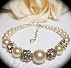 Pearl bracelet -  Gold - Swarovski Pearls -Gold Swarovski Fireballs - EXTENDER - Bridal Jewelry - Wedding - Formal -
