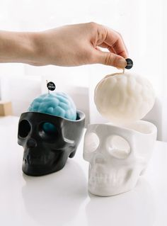 Candles Cry but Are Still Adorable The Jacks made candles into melting animal faces that are macabre but cute.These Candles Cry but Are Still Adorable The Jacks made candles into melting animal faces that are macabre but cute. Goth Home, Skull Decor, Candels, Gothic Home Decor, Gothic House, Skull And Bones, Candle Making, Bedroom Decor, Cozy Bedroom