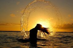 Whip your Hair in the Water, Wading in the Sunset...silhouette