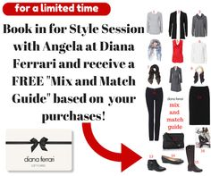 Book in for a Style Session at Diana Ferrari with Angela Barbagallo and receive a Mix and Match Guide free!