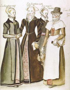 Lucas de Heere - London gentlewomen, via Flickr (fionasfancies). Original watercolor.