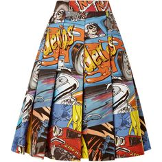 J.W. Anderson Printed Cotton Pleated Skirt (£290) ❤ liked on Polyvore featuring skirts, bottoms, car print, colorful skirts, knee length a line skirt, floral print a-line skirt, high waisted a line skirt and print skirt