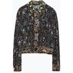 Zara Floral Print Shirt (575 SEK) ❤ liked on Polyvore featuring tops, black, floral print top, black floral shirt, black top, shirts & tops e floral pattern shirt