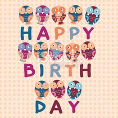 happy birthday card, cute owls. Blue, pink, purple, orange background. Royalty Free Stock Vector Art Illustration