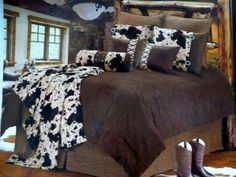 Western Bedding Tooled Cowhide 5 Piece,  this would look great on my log bed
