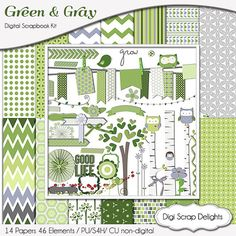 Green  Gray Digital Scrapbook Kit for by DigiScrapDelights Owls, Birds, trees clip art