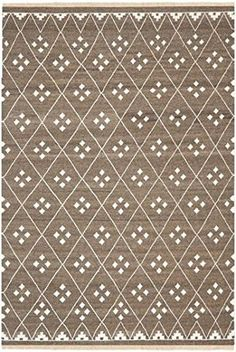 Safavieh NKM316A Natural Kilim Collection Wool Area Rug, 9-Feet by 12-Feet, Brown and Ivory