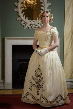 modern reproduction, mid 19th century ball gown with beetle wing embroidery