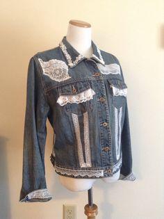 Upcycled Denim Jacket Lace Embellishments Denim by DragonflyDenim