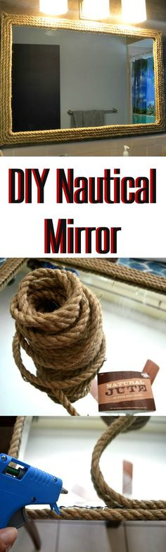 DIY mirror decor | Spruce up a bathroom mirror with rope twine to create that nautical or rustic look | DIY under $25 |