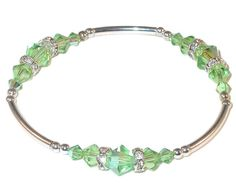 PERIDOT GREEN Teal Crystal Bracelet Stretch by CharminglyYoursToo