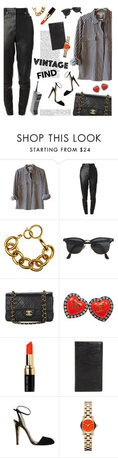"""vintage finds"" by jesuisunlapin ❤ liked on Polyvore featuring Versace, Chanel, Ray-Ban, Bobbi Brown Cosmetics, Louis Vuitton, Gucci, Marc by Marc Jacobs, Anja, vintage and women's clothing"