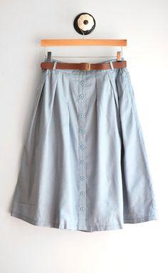 Chambray Midi Skirt w/ Belt