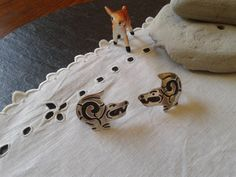 old F. Gutierrez Taxco jewelry sterling silver earrings: vintage 1940s Mexican Folk Art stylized Pre Columbian motif 40s Aztec warrior reptile Taxco