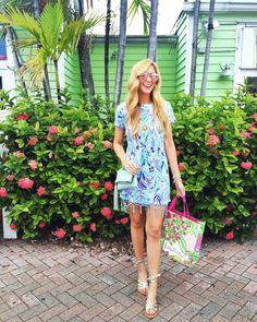 A Pinch of Lovely   Southern Fashion & Style Blog. Blue printed dress+golden ankle strap sandals+light blue shoulder bag. Summer outfit 2016