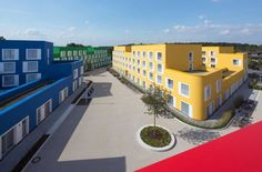 Kresings GmbH have designed Boeselburg, a group of colourful council and student housing buildings in Münster, Germany. German Architecture, Colour Architecture, Contemporary Architecture, Global Home, Student House, Building Systems, Dormitory, College Dorm Rooms, Condominium