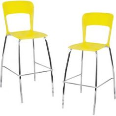 Lumisource Pair of Tone Bar Stools Yellow BS-TONE Y2 from OneWayFur...