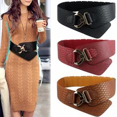 Wide Elastic Cinch Belt Women's Rocker Fashion Belt Gold Metal Rivet Wide Belts For Dress Coat Cummerbund 105cm Retro Style  #dress #instastyle #stylish #pretty #fashion #swag #model #styles #style #beautiful