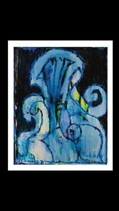Pierre Alechinsky - Mont bleu, 1970 - Acrylic on paper laid down on canvas - 65 x 52 cm