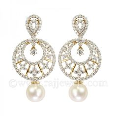 White Diamond Chand bali   Diamond Chand #Bali# earrings that are all the rage in 18 karat yellow gold with #pearl and diamonds: Diamond total weight is 4.06. You won't lack shine in this pair! caratshttps://www.rajjewels.com/exclusive-white-diamond-chand-bali-earrings.html#sthash.n0pzedAG.dpuf