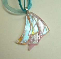 Fused Glass Dichroic Drape Pendant/ necklace (Pink)