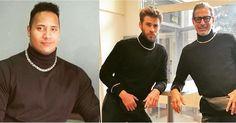 LOL: Liam Hemsworth and Jeff Goldblum Re-create Dwayne Johnson's Infamous Turtleneck Photo | POPSUGAR | Bloglovin'
