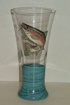 Trout Fishing - Hand Painted Pilsner. $30.00, via Etsy.