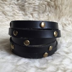 Leather & Brass Wrap Bracelet Rock & Roll with this beautiful leather wrap bracelet with round brass rivets. Fits all wrist sizes. Easy closure. Can also be used as necklace or belt! Never been worn. Paolo Angelucci Jewelry Bracelets