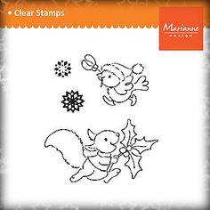 Marianne Design Stempel Clear Stamps, Winter / Weihnachten - Eichhörnchen Vogel