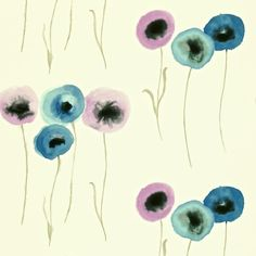 Poppies  'Poppies' is painted in a technique similar to traditional Chinese ink-painting and is printed with rich tones and multi-coloured flower heads on wide width paper.    Collection: Colour for Living Wallpapers   Design name: Poppies  Colour: Mauve/Ultramarine  Product number: DCFL211663  Wallpaper type: Non Woven  Width (cm): 68.6  Vertical pattern repeat (cm): 46  Match: Straight