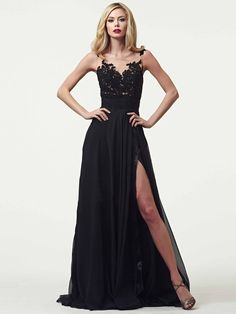 3390155e648b0 Custom made Sexy See Through Long Party Dress Appliques Chiffon Evening  Gowns A-Line vestidos