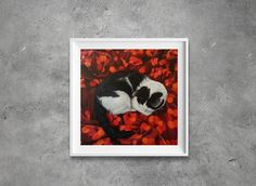 The bed is hers!!! Painting art prints signed by artist animal art by KathleenWongArt on Etsy
