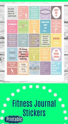Fitness and Diet Motivational Stickers, Printable Workout Sticker #fitness #motivation #ad #printables #stickers