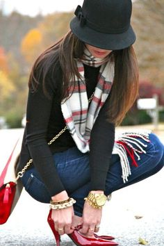 """My outfit would be similar to this: tight black sweater, dark skinnies, """"Japanese"""" red and white scarf"""