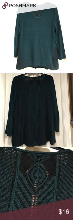 Style & Co. sweater Worn once!  Beautiful green with gorgeous back!  See photo 3. I wore a black cami under it. It's long and flattering too! Style & Co Sweaters Crew & Scoop Necks