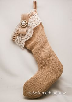 Rustic burlap Christmas stocking with vintage by BeSomethingNew, $42.00