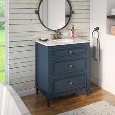 Single Bathroom Vanity, Small Bathroom, Bathroom Ideas, Bathroom Vanities, Basement Bathroom, Master Bathroom, Bathroom Designs, Bathroom Organization, Dresser To Bathroom Vanity