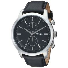 Fossil Men's 'Townsman' Black Leather Chronograph Watch Looking for a watch with a black leather band.