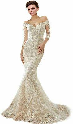 9d9f2af292b Engerla Long Sleeve Sweetheart Off The Shoulder Mermaid Lace Bride Wedding  Dress  gift  dress