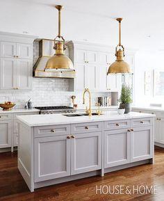 allison wilson kitchen house & home -gray-kitchen-cabinets-brass-industrial-pendants