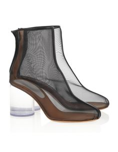 Maison Martin Margiela 7812 Maison Martin Margiela Leather-trimmed mesh and Perspex boots - ShopStyle Black Heel Boots, Black Shoes, Heeled Boots, Clear Heel Shoes, Chunky High Heels, Ankle Booties, Bootie Sandals, Me Too Shoes, Shoes