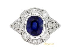 Art Deco sapphire and diamond cluster ring, circa 1920. | Berganza