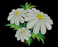 Chamomile embroidery design. Floral embroidery
